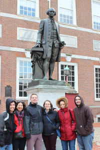 George Washington Statue Independence Hall, Philadelphia PA, with Yoders and Billings, December 19, 2015 edited